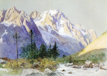 Mountain Painting - Wetterhorn from Grindelwald Switzerland scenery William Stanley Haseltine Mountain