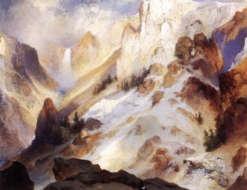 Mountain Painting - Yellowstone Canyon landscape Thomas Moran mountains