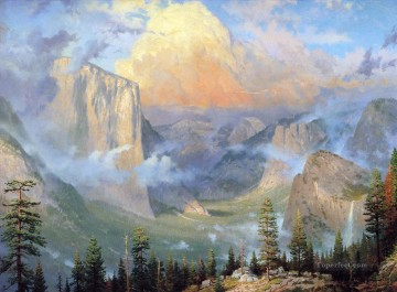Mountain Painting - Yosemite Valley Thomas Kinkade mountains landscapes