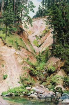 cliff 1893 classical landscape Ivan Ivanovich stream Oil Paintings