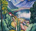 lake geneva 1914 Ilya Mashkov landscape mountains