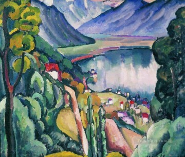 lake geneva 1914 Ilya Mashkov landscape mountains Oil Paintings