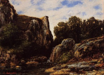 waterfall Painting - A Waterfall in the Jura landscape Gustave Courbet Mountain