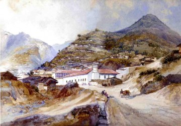 Angangueo Mexico landscape Thomas Moran mountains Oil Paintings