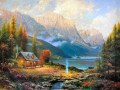 Beginning Of A Perfect Day Thomas Kinkade mountains landscapes
