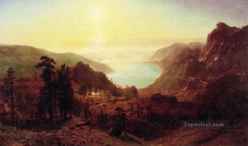 Donner Lake from the Summit Albert Bierstadt Mountain Oil Paintings
