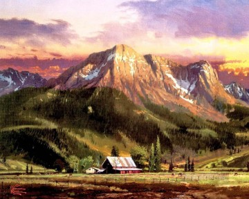 Dusk In The Valley Thomas Kinkade mountains landscapes Oil Paintings