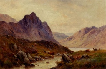 Falcon Craig Derwentwater landscape Alfred de Breanski Snr Mountain Oil Paintings
