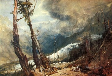 Glacier and Source of the Arveron Going Up to the Mer de Glace landscape Turner Mountain Oil Paintings