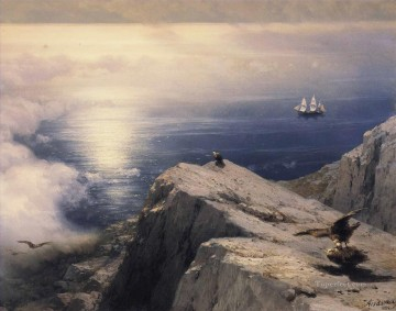 Mountain Painting - Ivan Aivazovsky a rocky coastal landscape in the aegean mountain