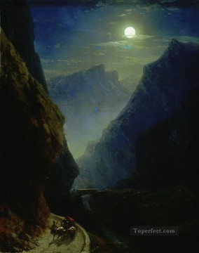 Mountain Painting - Ivan Aivazovsky darial gorge moon night mountain