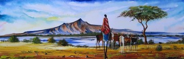 Malak Herding Near Lake Naivasha Mountain Oil Paintings