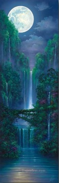 mountains art - Moonlit Falls rainforest mountains
