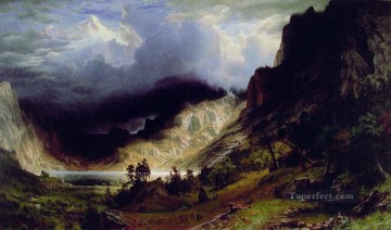 mountains Canvas - Storm in the Rocky Mountains Albert Bierstadt