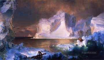 The Icebergs scenery Hudson River Frederic Edwin Church Mountain Oil Paintings