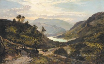 wales Art Painting - The Path Down to the Lake North Wales landscape Sidney Richard Percy Mountain