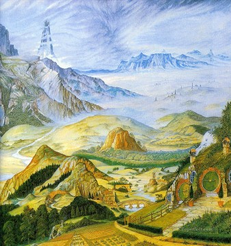 garlands of fantasy middle earth tolkiens landscape 2 Mountain Oil Paintings
