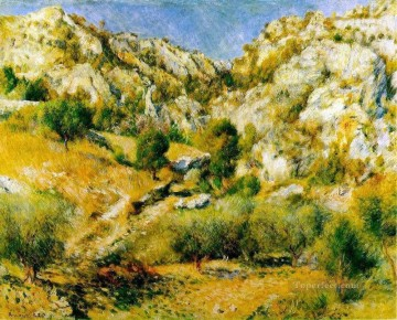 Pierre Works - rocky craigs at lestaque Pierre Auguste Renoir Mountain
