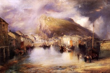 Mountain Painting - An English Fishing Village Polperro Cornwall landscape Thomas Moran Mountain