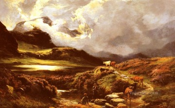 cattle Works - Cattle And Drovers On A Path landscape Sidney Richard Percy Mountain