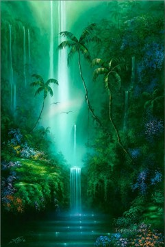 Mountain Painting - Emarald Falls rainforest mountains