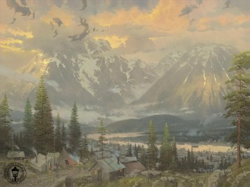Great North Thomas Kinkade mountains landscapes Oil Paintings