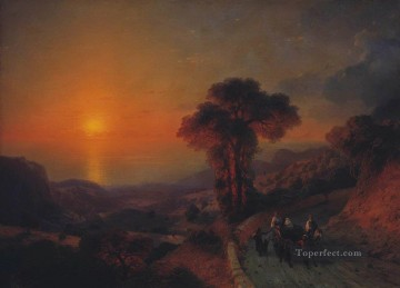 Mountain Painting - Ivan Aivazovsky view of the sea from the mountains at sunset crimea mountain