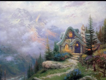 Sweetheart Cottage III Thomas Kinkade mountains landscapes Oil Paintings