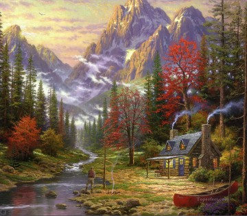 The Good Life Thomas Kinkade Mountain Oil Paintings