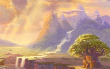 The Lion King part Thomas Kinkade Mountain Oil Paintings