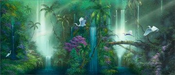 Fantasy Falls cranes rainforest mountains Oil Paintings