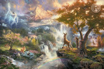 Bambis First Year Thomas Kinkade mountains landscapes Oil Paintings