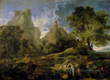 Mountain Painting - Nicolas Landscape With Polyphemus classical Nicolas Poussin Mountain