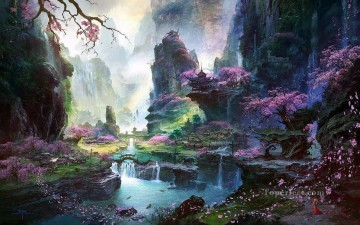 fantastic world Chinese mountain Oil Paintings