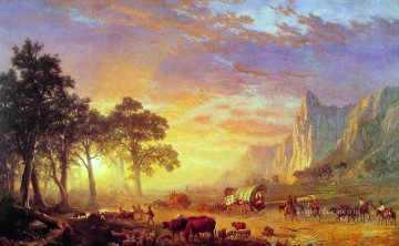 trail Oil Painting - The Oregon Trail Albert Bierstadt Mountain