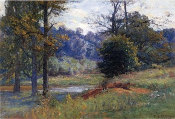 indiana - Along the Creek aka Zionsville Impressionist Indiana landscapes Theodore Clement Steele