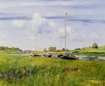 impressionism landscape Painting - At the Boat Landing impressionism landscape William Merritt Chase