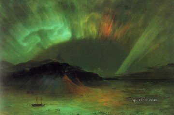 Plain Scenes Painting - Aurora Borealis scenery Hudson River Frederic Edwin Church