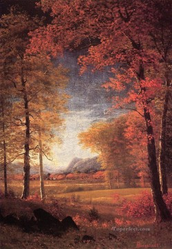 Plain Scenes Painting - Autumn in America Oneida County New York Albert Bierstadt