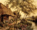 Cottages Beside A River landscape Louis Aston Knight