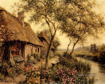 Cottages Beside A River landscape Louis Aston Knight Oil Paintings