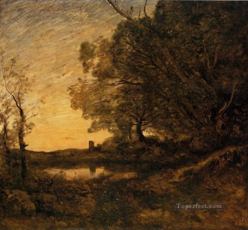 Evening Distant Tower Jean Baptiste Camille Corot Oil Paintings