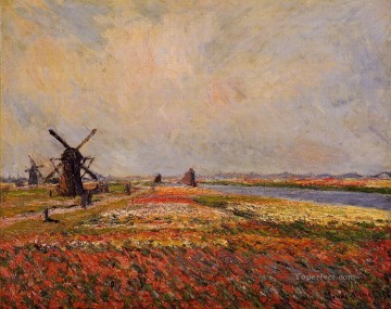 Windmills Art - Fields of Flowers and Windmills near Leiden Claude Monet scenery