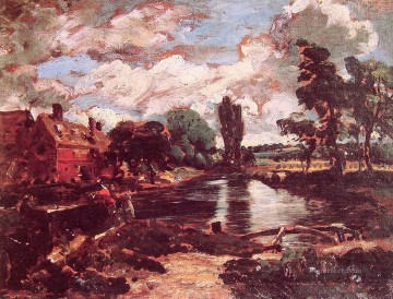 Flatford Mill from the lock Romantic landscape John Constable Oil Paintings
