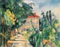 House with Red Roof Paul Cezanne scenery