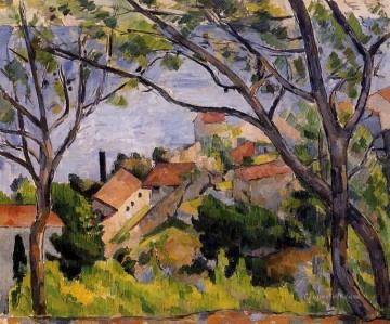 L Estaque View through the Trees Paul Cezanne scenery Oil Paintings