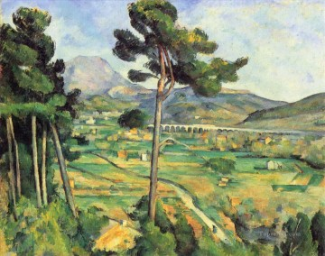 Sainte Painting - Landscape with viaduct Montagne Sainte Victoire Paul Cezanne