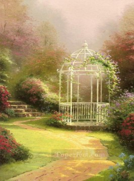 Lilac Gazebo Thomas Kinkade scenery Oil Paintings