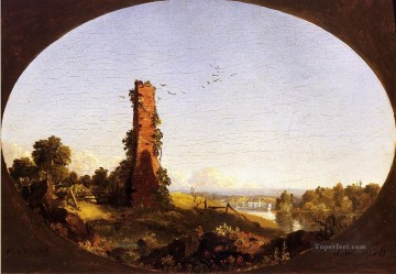New England Landscape with Ruined Chimney scenery Hudson River Frederic Edwin Church Oil Paintings