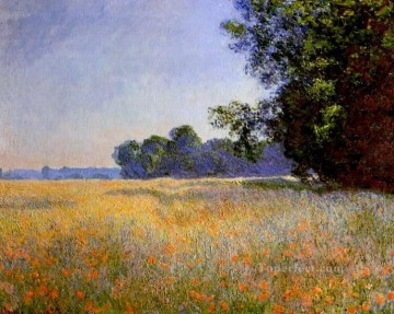 POP Oil Painting - Oat and Poppy Field Claude Monet scenery